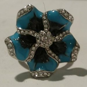 Blue Flora Design Ring